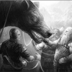 Fenrir and Tyr, Norwegian folklore. Okay, not medieval per se, but dark ages! I'm partial to this one: a warrior god who seeks to bind the monstrous wolf, Fenrir, trying to keep the world from the trouble the beast was foretold to cause, and who gets bit on the hand.