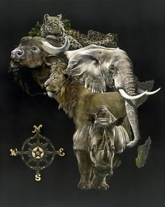 Big 5, Out of Africa by Sally Maxwell ~ amazing hyper-realist artist! ~ water buffalo ~ leopard ~ elephant ~ lion ~ rhinoceros