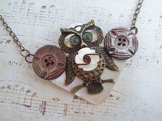 Repurposed Vintage Button & Bronze Owl Necklace by DixiesNightOwl, $37.00