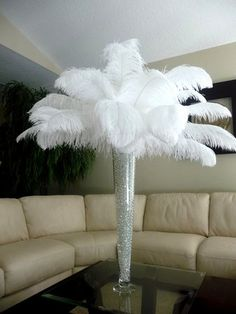 Flowers, Reception, White, Centerpiece, Ceremony, Inspiration, Board, Feathers, Savannah event decor, Ostrich