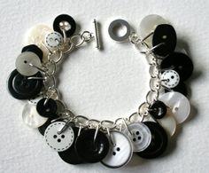 Button Charm Bracelet Monochrome Black and White by MrsGibson, $22.50
