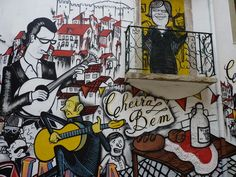 Fado is a typical music format from portuguese cultural heritage. Alfama and Mouraria, two old areas of Lisbon City are it's heart. This paintings named Fado Vadio show some great and famous Portuguese Fado singers. Lisbon, Portugal