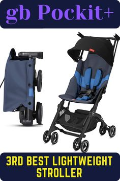 The gb Pockit+ is an ultra-compact travel stroller is durable for everyday use as well as travel by planes and trains. This best umbrella stroller design to fit in most overhead compartments of planes and trains. It features UPF50+ sun canopy, reclining seat back, and front swivel wheels that navigate busy streets easily. #gbStroller #bestlightweightstroller #bestbabystroller #babystroller #stroller Best Lightweight Stroller, Best Baby Strollers, Best Umbrella, Umbrella Stroller, Travel Stroller, Sun Canopy, By Plane, Travel System, Recliner