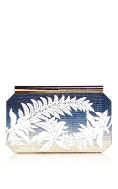 Blue Saya Raffia Clutch With Floral Embroidery by OSCAR DE LA RENTA Now Available on Moda Operandi