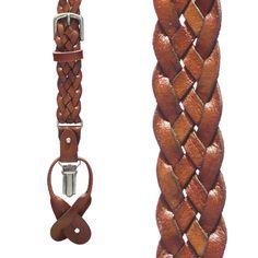 Basketweave Braided Leather Convertible Suspenders