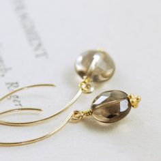 Smoky Quartz Earrings 14k Gold Fill, Coffee Brown Gemstone Wire Wrap, aubepine. $25.00, via Etsy.