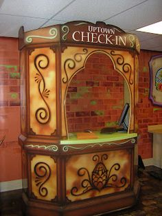 Worlds of Wow - now that's a cool check-in desk for kids church at First Baptist Church, Odessa, TX.