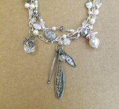 Multistrand OOAK Elegant White Glass Necklace & by HandcraftedSerenity, $39.99