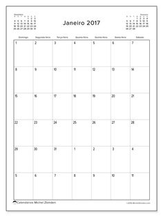 Livre! Calendários para janeiro 2017 para imprimir