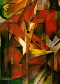 "Franz Marc ""Foxes""   Franz Marc was a German painter and printmaker, one of the key figures of the German Expressionist movement. He was a founding member of Der Blaue Reiter (The Blue Rider), a journal whose name later became synonymous with the circle of artists collaborating in it."