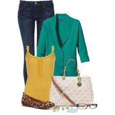Leopard flats and green blazer!