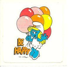 Vintage 80's Smurfette Be Happy Sticker by Stuckonstickers on Etsy, $1.50