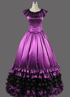 Purple Satin Sleeveless Girls Gothic Victorian Gown
