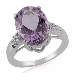 5.8ct Pink Amethyst White Topaz 925 Sterling Silver Ring Valentine Gift Jewelry #Unbranded #SolitairewithAccents #ValentinesDay