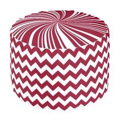 School Colors Chevron Pouf Seat,Burgandy-White Round Pouf #zazzle #pouf #seat #schoolcolors #burgandy #white #chevron #twirl #dormgifts #kidsroom