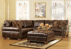 Antique Brown Leather Sectional
