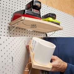 """Custom Shelving - Standard pegboard hooks can accommodate most tools—but sometimes you need a special place for special stuff.Drill 1/4-in. holes in the backs of homemade shelves, then use those holes to slide the shelves over L-hooks. Or use cable staples to attach plywood shelves to standard pegboard shelf brackets. The staples allow you to slide the shelf back and forth so you can easily fit the shelf bracket """"legs"""" into the holes."""