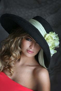 Large elegant hat with gentle flowers | Evening hats by Anna Mikhaylova, via Behance
