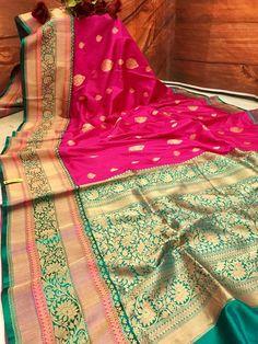 Light Fuchsia Pink & Green Color Pure Karan Banarasi Saree – IndyVogue