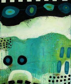 JANNE JACOBSEN - tidligere værker. Flotte farverige malerier i forskellige størrelser med kontraster, små skriverier og små snirkler og forme. #abstractart
