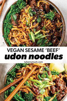 Easy Vegetarian Lunch, Easy Vegan Dinner, Vegetarian Recipes Dinner, Vegan Dinners, Vegan Recipes Easy, Plant Based Dinner Recipes, Asian Dinner Recipes, Asian Recipes, Vegan Udon Noodle Recipe