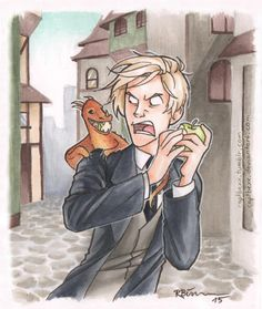 I gave Draco a little pet dragon… ^-^  But Draco shares his apples with no one! NO ONE! XD by captbexx