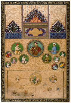 "Pictorial Genealogy Of Jahangir Mughal India, circa 1623-27 CE Jahangir was super concerned with legitimizing his rule by tracing his connections back to Timur using art, which is appropriate, because part of why Timur was such a big arts patron is that he was trying to legitimize his own rule by being like ""hey I am totally a Mongol, remember how they cared about paintings?"" And the Mongols started being interested in painting when they were trying to be all cultured like the Chine"
