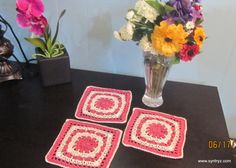 Set of 3 Doilies  6In Square Rose Pink and White Lace by Syntryz, $6.45