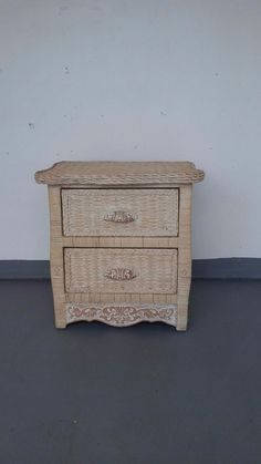wicker rattan nightstand cottage shabby chic bed table jamaica imports pier one
