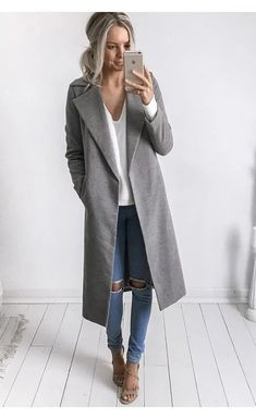 Fall coat in grey. Love this long grey tench coat. Fashion Long Sleeves Causal Outerwear in Grey. Classy Outfits, Casual Outfits, Fashion Outfits, Womens Fashion, Ladies Fashion, Fashion Ideas, Fashion Clothes, Outfits 2016, New Fashion Trends
