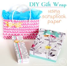 DIY Gift Wrap using Scrapbook Paper