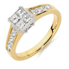A dazzling one carat of stunning princess cut diamonds set in 18ct yellow and white gold in an invisible setting.