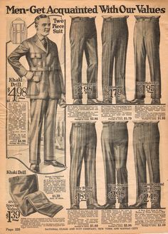 1922 Spring/Summer Catalog, National Cloak & Suit Co., page 328 Big Men Fashion, Urban Fashion, Winter Fashion, Fashion Tips, Vintage Pants, Vintage Men, Vintage Fashion, 1920 Men, Guys And Dolls