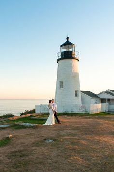 Wedding Photography A Gorgeous Maine Lighthouse Wedding - There's nothing I love more than a beautiful Maine wedding. The scenery just can't be beat! Which is why I was so excited to see the wedding photos from Maine Wedding Venues, Wedding Destinations, Wedding Planning Inspiration, Wedding Ideas, Wedding Couples, Wedding Details, Wedding Decor, Maine Beaches, Lighthouse Wedding