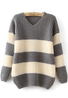 Grey Striped Print Pullover