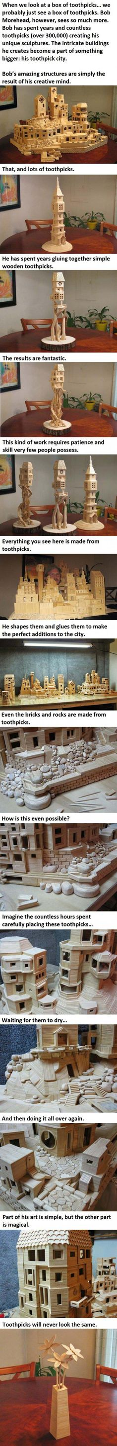 toothpicks as an art medium!  Amazing talent.