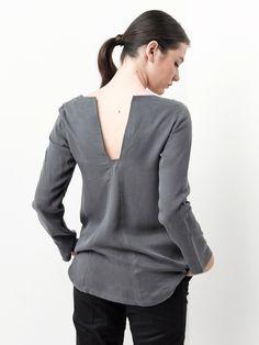 SALE / Women Shirt / Gray Shirt / Women Tunic / Gray Tunic / Long Sleeves Shirt / Gray Long Sleeves  Tunic / Open Back Shirt by YaelAdmoni on Etsy https://www.etsy.com/listing/209990229/sale-women-shirt-gray-shirt-women-tunic