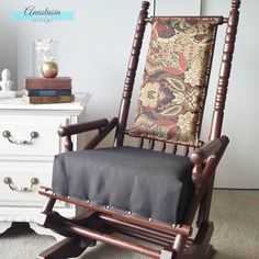 You'll love how this broken and worn antique rocking chair was restored with a new finish and contemporary upholstery. A must-see transformation!