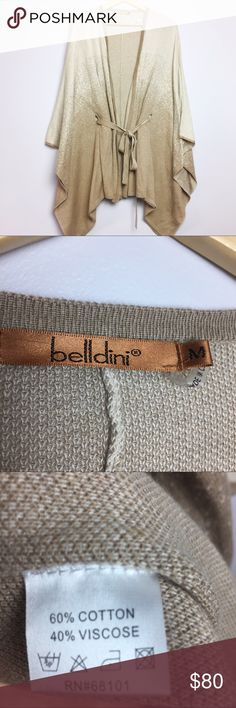 "Belldini Tie Waist Wrap Cardigan Batwing Cardigan •Belldini Batwing Wrap Cardigan Tie Waist Tan Cream •Women's Size Medium •In excellent used condition •60% cotton/ 40% viscose •All measurements are approximate: 30"" length at shortest/ 39"" length at longest Belldini Sweaters Cardigans"