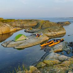 What a great campsite! And sea kayaking to camp? Even cooler. Location: The old inner harbor of Bodskär, Skarv, very outer Swedish archipelago. Photo: Fred Marmsater