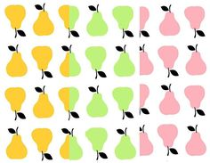 White & Green Pears Printed 100% Cotton pink pear fabric