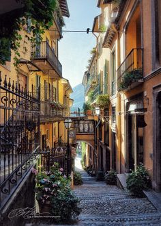 Beautiful street scene in Bellagio on Lake Como, Italy. Photographer: Lee A. Brown.