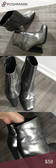 Metallic CK Boots Line NEW! Worn only once indoors! Perfect condition! Trendy metallic silver color! Very comfy ! Fits 7 Calvin Klein Shoes Ankle Boots & Booties