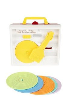 Fisher Price Record Player. Originally introduced in 1971. I remember these! My kids loved this