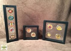 Super cool way to display challenge coins! They are visible from both sides!