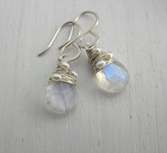 Moonstone Briolette Earrings by Sarah Hickey, the perfect gift for Explore more unique gifts in our curated marketplace. Pearl Earrings, Drop Earrings, Rainbow Moonstone, Wedding Jewelry, Unique Gifts, Bridesmaid Dresses, Pure Products, Jewellery, Sterling Silver