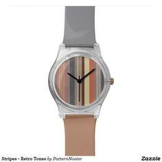 Stripes - Retro Tones Watch #muted #stripes #giftideas  #luggage #grey #greyandtan