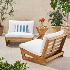 Ebern Designs Pekalongan Outdoor Patio Chair with Cushions Frame Color / Cushion Color: Teak Frame / White Cushion Diy Outdoor Furniture, Deck Furniture, Modern Furniture, Furniture Design, Furniture Layout, Furniture Ideas, Furniture Movers, Office Furniture, Outdoor Loveseat