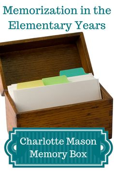 Organizing a Charlotte Mason memory box...love these ideas!