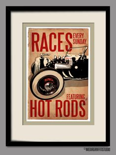 Vintage car, Poster sized Canvas Art Print, Hot Rod Rockabilly decor, size via Etsy. Rockabilly Decor, Roadster, Automotive Decor, Car Posters, Garage Art, Canvas Art Prints, Vintage Cars, Decoration, Hot Rods